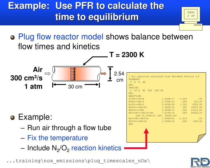 Example: Use PFR to calculate the time to equilibrium