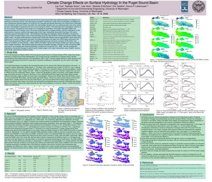 Climate Change Effects on Surface Hydrology In the Puget Sound Basin