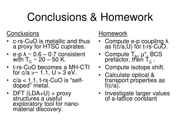 Conclusions & Homework