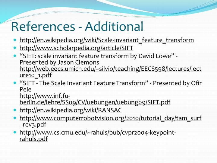 References - Additional