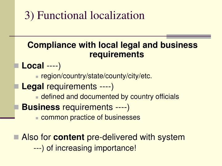 3) Functional localization
