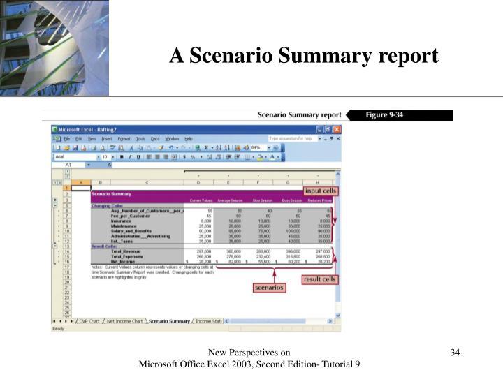 A Scenario Summary report