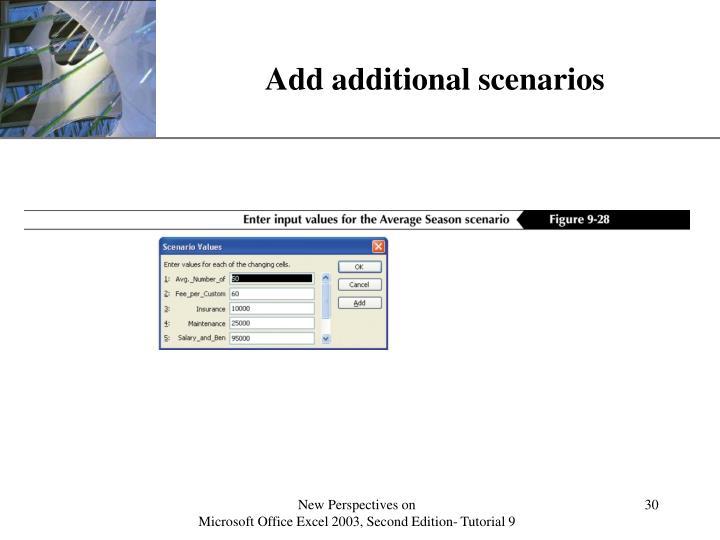 Add additional scenarios