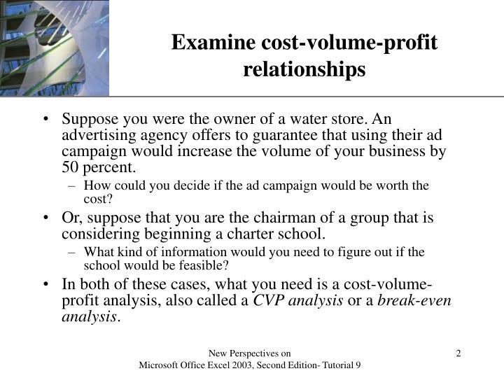 Examine cost-volume-profit relationships