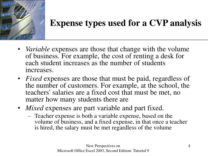 Expense types used for a CVP analysis