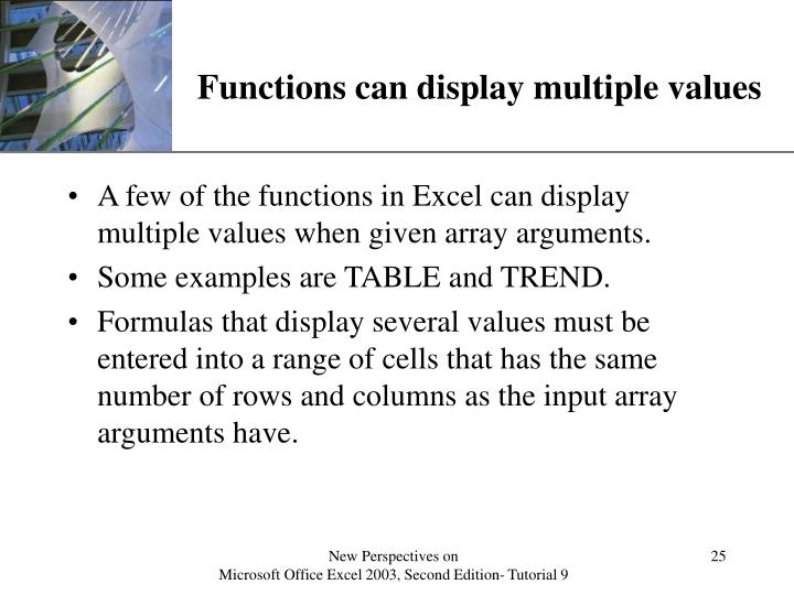 Functions can display multiple values