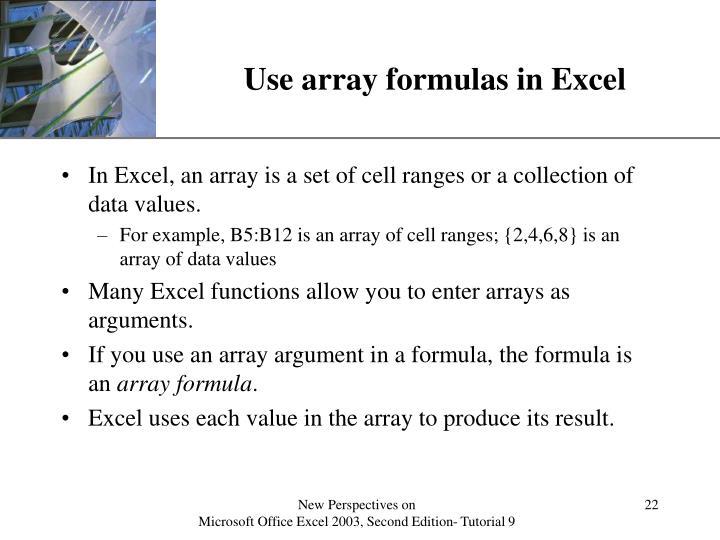 Use array formulas in Excel