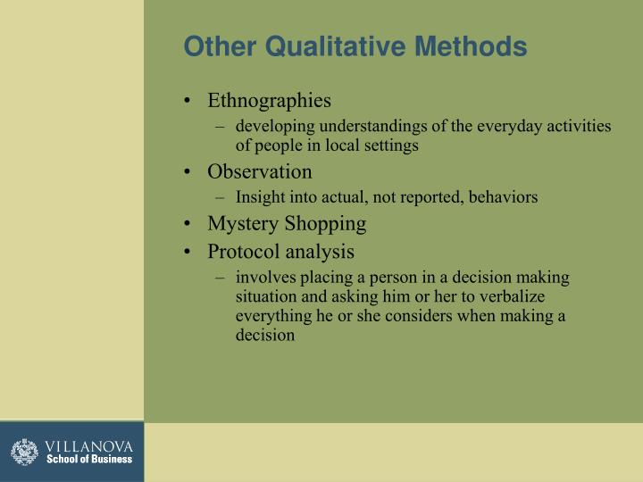 Other Qualitative Methods