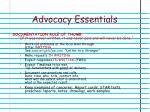 advocacy essentials