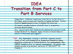 idea transition from part c to part b services