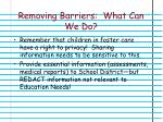 removing barriers what can we do1