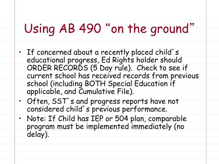 Using AB 490