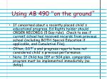 using ab 490 on the ground