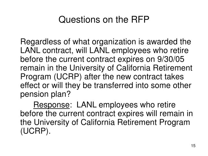 Questions on the RFP