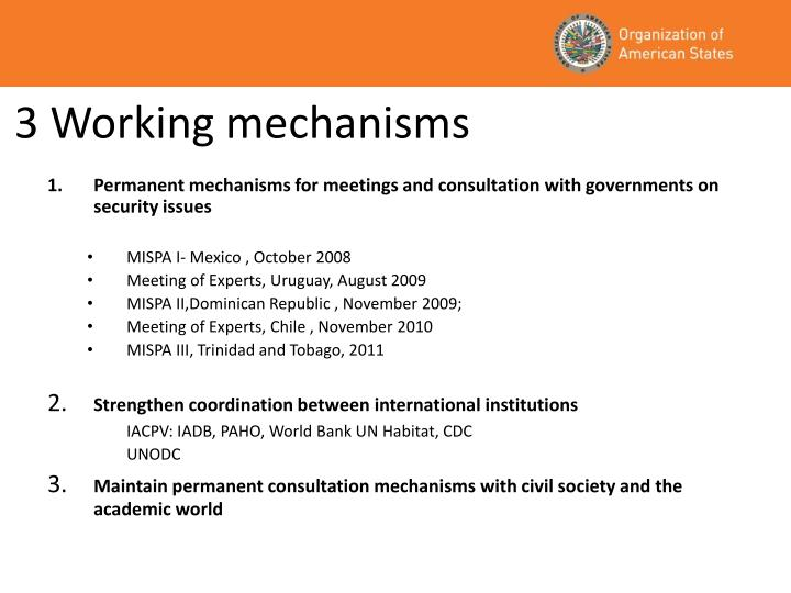 3 Working mechanisms