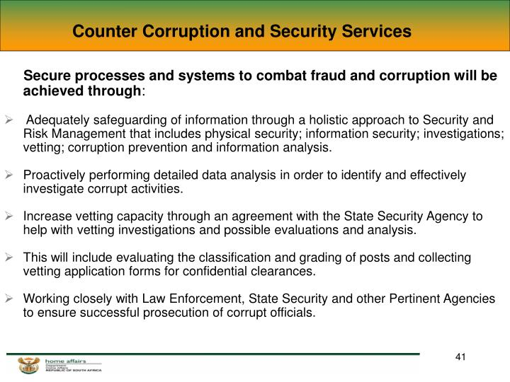 Counter Corruption and Security Services