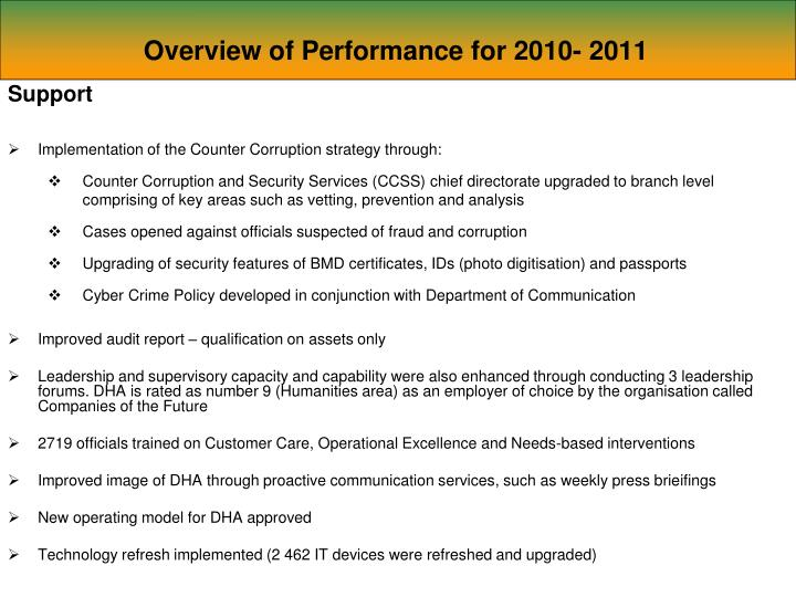 Overview of Performance for 2010- 2011