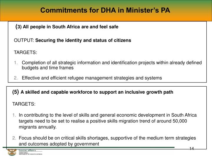 Commitments for DHA in Minister's PA