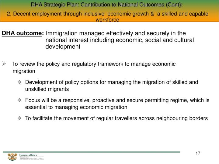 DHA Strategic Plan: Contribution to National Outcomes (Cont):