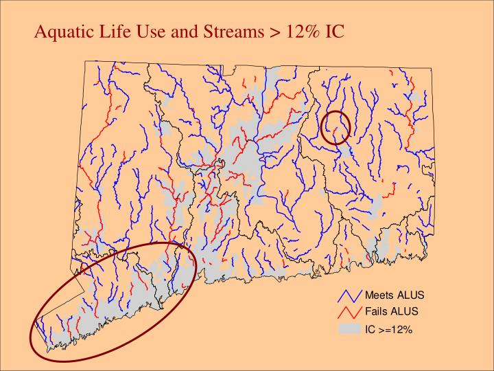 Aquatic Life Use and Streams > 12% IC