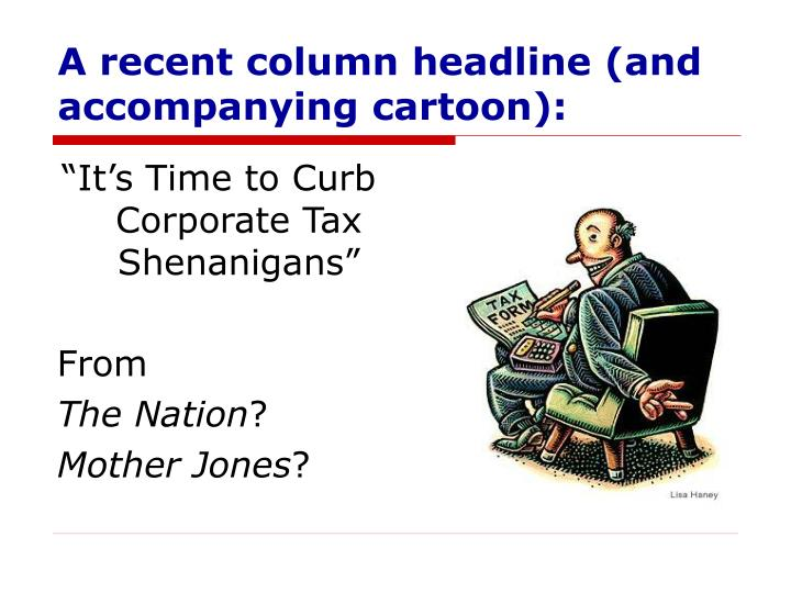A recent column headline (and accompanying cartoon):