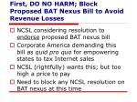 first do no harm block proposed bat nexus bill to avoid revenue losses