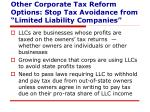 other corporate tax reform options stop tax avoidance from limited liability companies