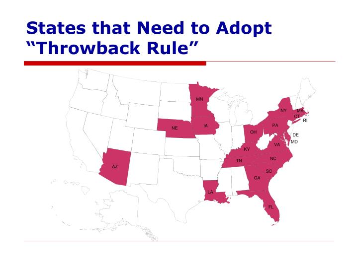 """States that Need to Adopt """"Throwback Rule"""""""