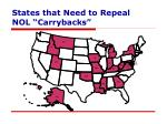 states that need to repeal nol carrybacks