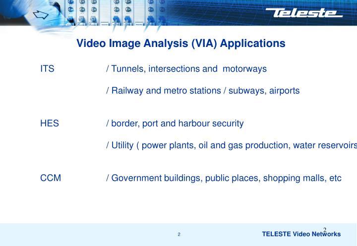 Video Image Analysis (VIA) Applications