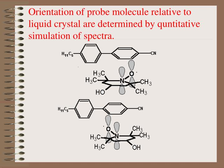 Orientation of probe molecule relative to liquid crystal are determined by quntitative simulation of spectra.