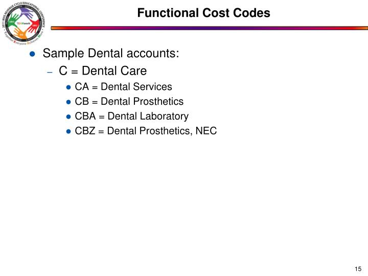 Functional Cost Codes