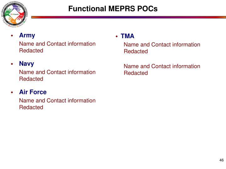Functional MEPRS POCs