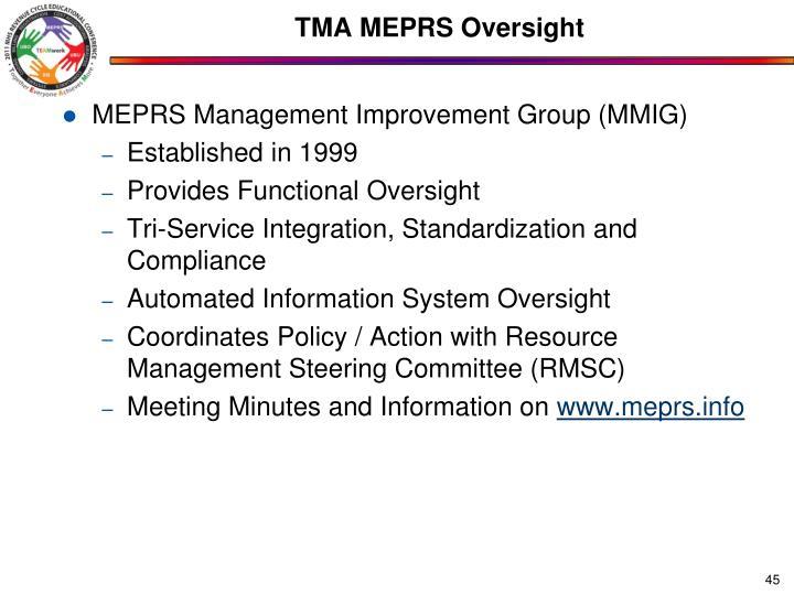 TMA MEPRS Oversight