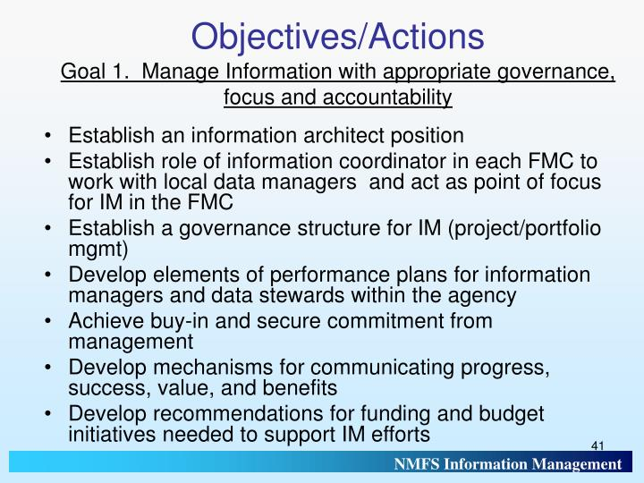 Objectives/Actions