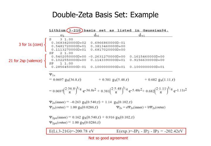 Double-Zeta Basis Set: Example