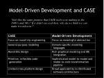model driven development and case