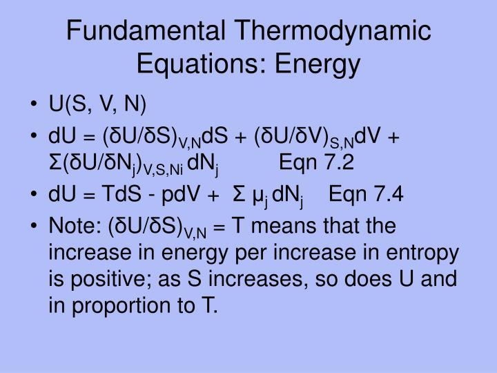 Fundamental Thermodynamic Equations: Energy