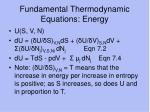 fundamental thermodynamic equations energy