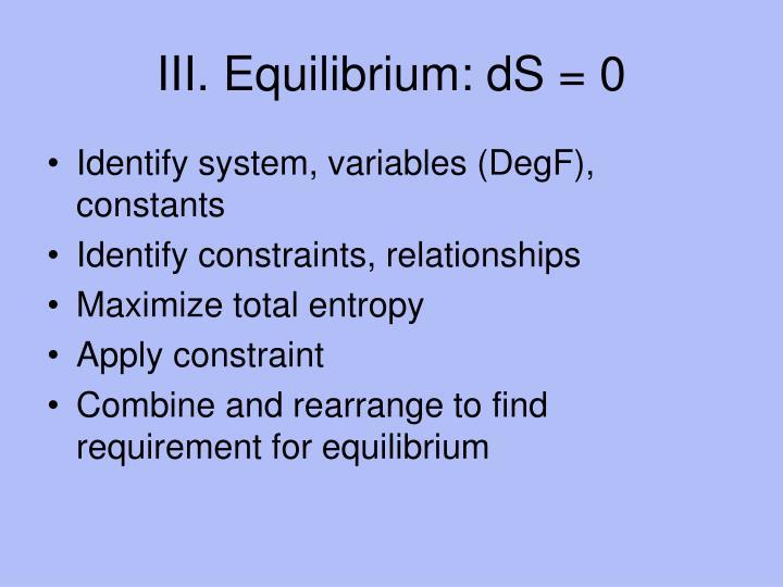 III. Equilibrium: dS = 0