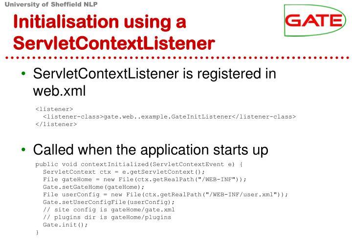 Initialisation using a ServletContextListener