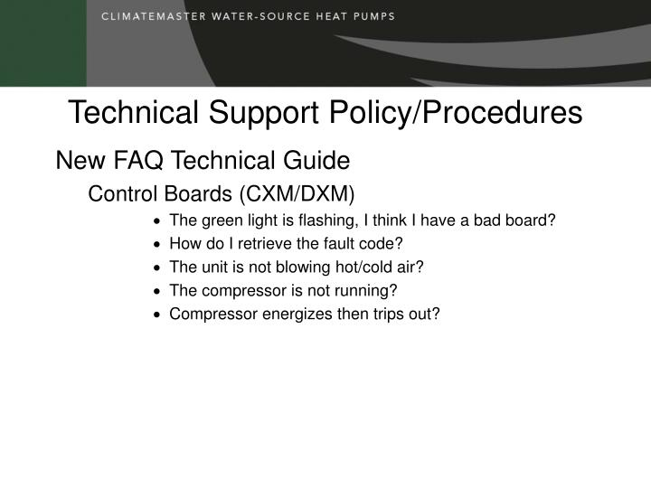 Technical Support Policy/Procedures