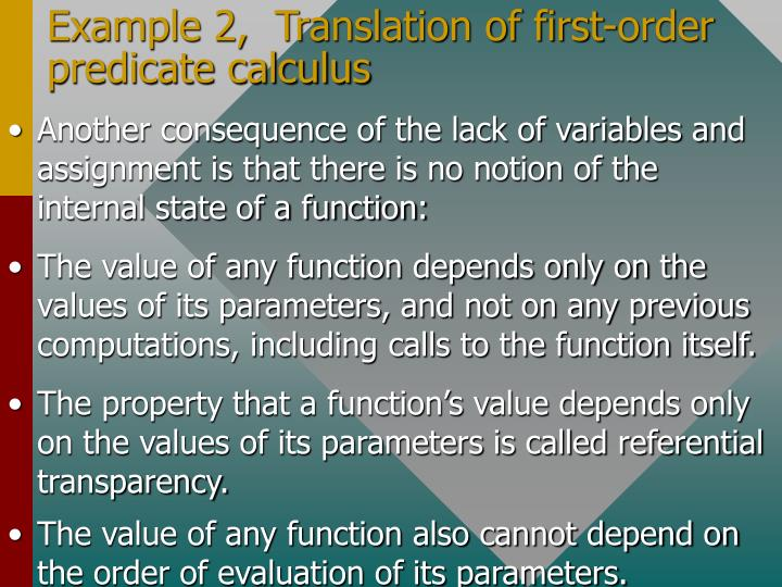 Example 2,  Translation of first-order predicate calculus
