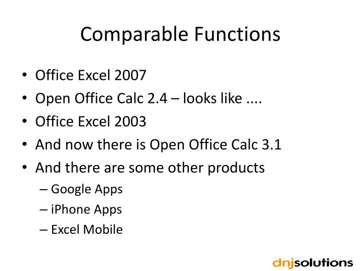 Comparable Functions