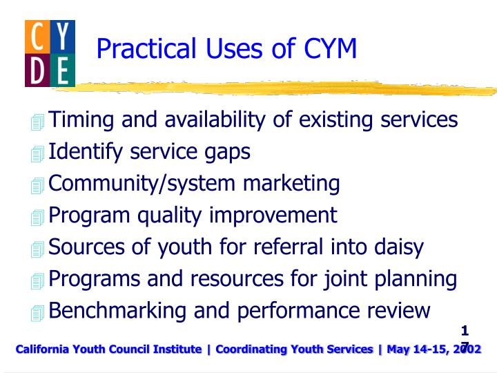 Practical Uses of CYM
