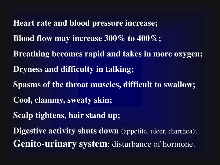 Heart rate and blood pressure increase;