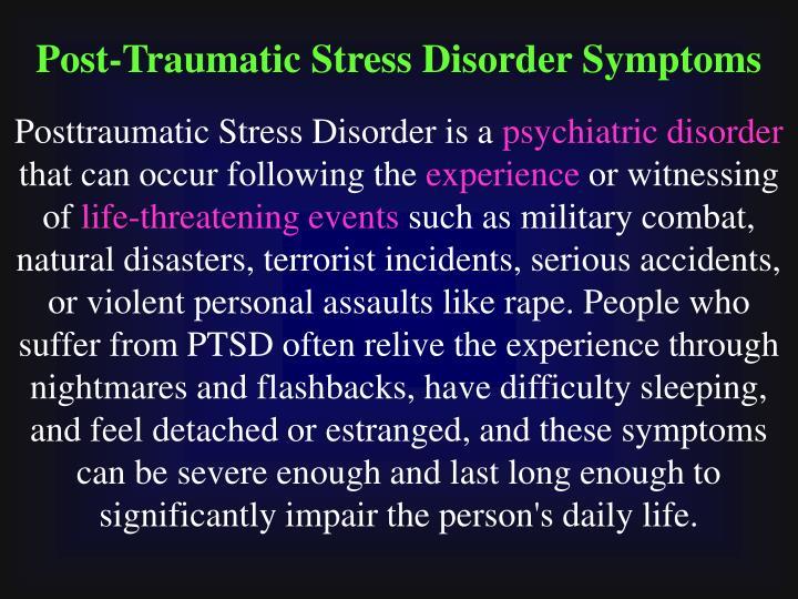 Post-Traumatic Stress Disorder Symptoms
