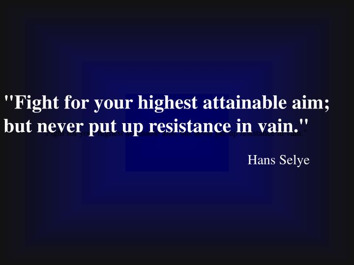 """""""Fight for your highest attainable aim; but never put up resistance in vain."""""""
