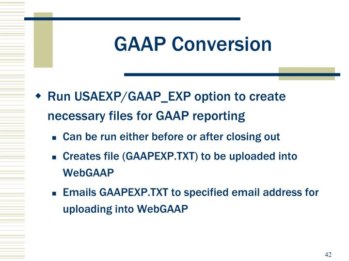 GAAP Conversion
