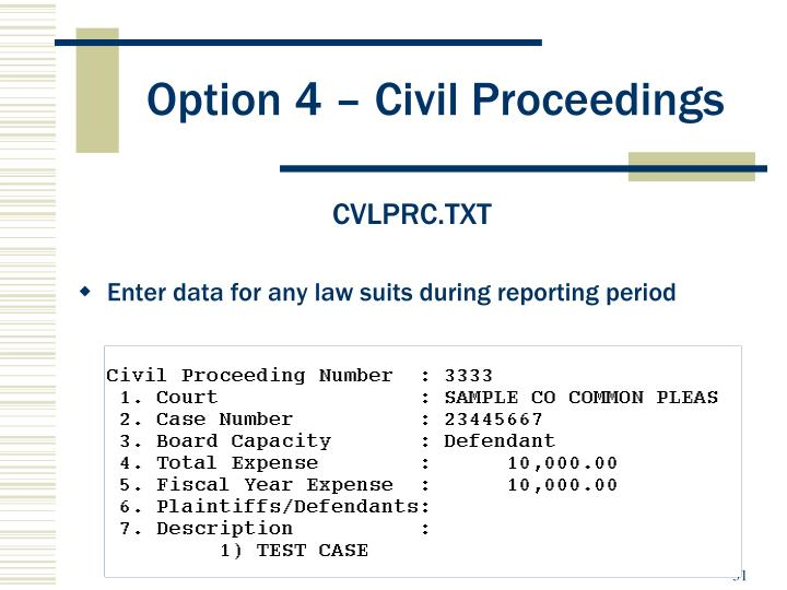 Option 4 – Civil Proceedings
